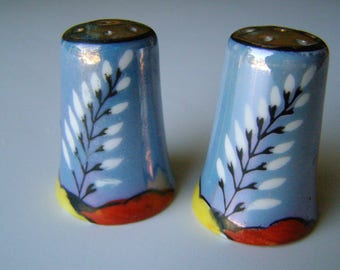 Salt and Pepper Shakers, Vintage, Made In Japan, Blue with Leaf design