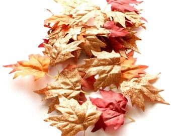 25 Shiny Glittery Orange, Red, and Copper Fall Leaves  - Artificial Leaves, Silk Leaves