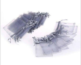 """new 50 pieces 2"""" x 3"""" MINI Organza Bags Party Favor Gifts wedding pouches jewerly candy silver gray 100"""