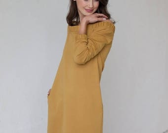 SALE - Off shoulder dress | Perfect dress | Mustard dress | LeMuse off shoulder dress