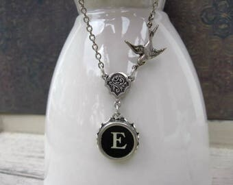 Typewriter Jewelry - Antique Typewriter Key Necklace - Letter E with Bird