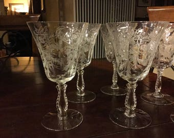 """Vintage Fostoria Heather Low Water Goblet Glasses Set of 6 at  6 3/8"""" each"""