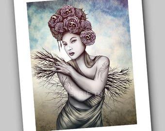Lilith, Gothic Tree Goddess, Skull Roses Beauty Girl, Art Print, Sale