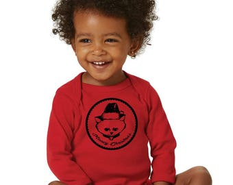 Meowy Christmas Cat Baby Shirt, Long Sleeved Cotton Baby Bodysuit, Infant Onepiece Hand Printed Merry Christmas Baby Clothes First Christmas