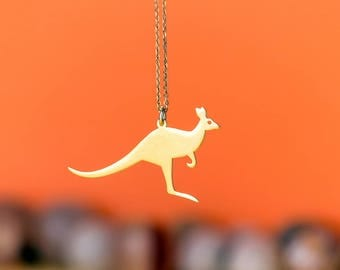 Kangaroo Necklace Wallaby Pendant Australian Animal Necklace Sterling Silver Kids Teen Jewelry Wild Animal Birthday gift