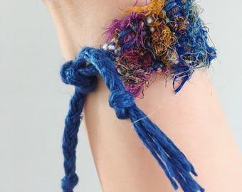 Handwoven Recycled Sari Silk Ribbon & Linen Bracelet //blue /multicolor / boho / zero waste / sustainable / upcycled