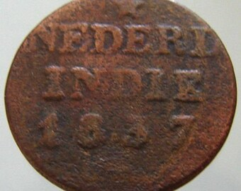 ANTIQUE Over 175 Years Old 1837 J DUTCH Netherlands Indies 1 Cent Duit minted in Soerabaja Copper Coin