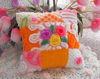 LOLIPOP ROSES Vintage Chenille Patchwork Pillow Sweet