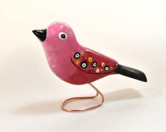 Grandma Gift for Mom Birthday Gift Wooden Bird Carving Bird Lover Sister Gift Fall Decor Elderly Gift