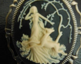 Gorgeous Lady w Deer in the Woods CAMEO --20-70% off items throughout our Shop