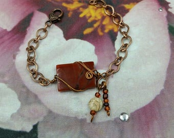 Bag and a Bracelet Eco Friendly Tote and Carnelian Agate Ankle Bracelet