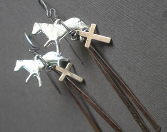 ON SALE Milagro Horse Earrings.. Equestrian. Spanish Gypsy Dangle Earrings. GIFT