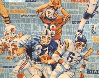 Twin Vintage Blue Football Flat Sheet