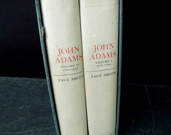 Slipcase John Adams Two Volume Set - 1962 Doubleday & Company  - Literary Gift - Gift for Book Lover - Author Page Smith