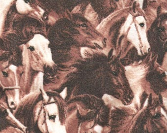 """HORSES Flannel Fabric, 1 yard x 42"""" inches wide.  Brand new."""