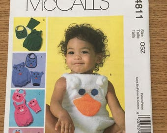 Sewing Pattern ~ McCall's 4811 ~ Infants Rompers Mitts and Bibs