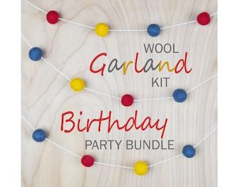 Birthday Party Bundle Wool Felting Garland Kit, DIY wet felting kit for all ages, stocking stuffer