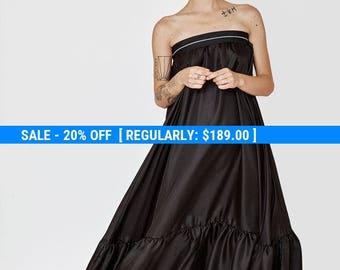 silk maxi dress - strapless maxi dress - black maxi dress - sexy maxi dress - black evening gown - black silk dress - MaxiDress