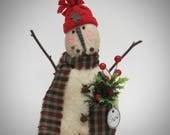 Rustic Snowman decor | Primitive  Snowman | Christmas decoration | Fabric Snowman | Winter decoration | Lodge Snowman decor