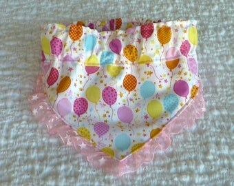 "Pet Bandana, Birthday Party Balloons Dog Scrunchie Bandana with star ruffle - Size M: 14"" to 16"" neck"