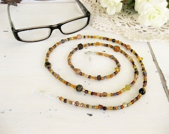 Brown Beaded Eyeglass Chain, Beaded Necklace, Eyeglass Necklace, Brown Necklace, Eyeglass Holder, Eyeglass Holder, Long Bead Necklace, EH009