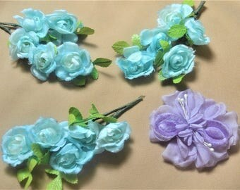 4, Silk Flowers,3 Blue Small Flowers,Vintage Millinery,Hand Wrapped Stems,Hand Tinted ,1 Purple Velvet Peddles Supplies