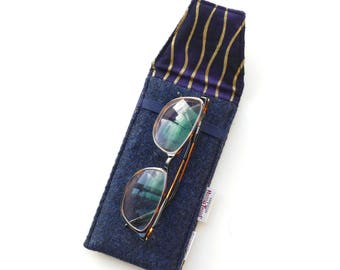 Navy HARRIS TWEED Glasses case, spectacles eyeglass cover, padded specs case