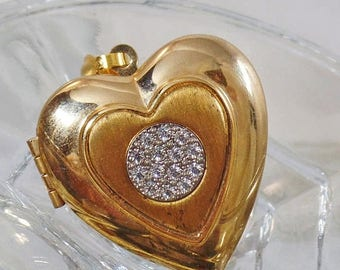 SALE Vintage Gold and Spinel Heart Locket Pendant. Gold Plated Faux Diamond Cluster Locket.