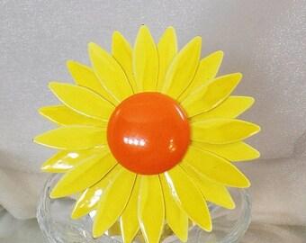 SALE Vintage Large Flower Brooch.  Big Yellow Orange Flower Power Pin. Enamel Flower Brooch.
