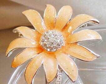 SALE Vintage Peach Rhinestone Flower Brooch.  Danecraft.  Silver Plated Peach Enamel Rhinestone Flower Pin.