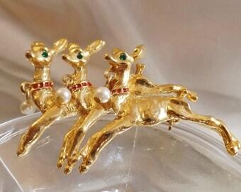 SALE Vintage Three Reindeer Brooch.  Aii. Gold Tone Rhinestones and Faux Pearls Reindeer Pin. Rudolph. Christmas Brooch.  Holiday Pin.