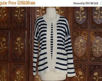 ON SALE 1970s ADOLFO New York Navy/Cream Striped Twin Knit Sweater Set