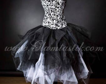 Custom Size White and black skulls and tulle burlesque prom dress witch costume available in S-XL