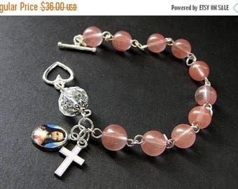 SUMMER SALE Pink Chaplet Rosary Bracelet in Cherry Quartz and Crystal. Handmade Rosaries