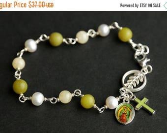 SUMMER SALE Jade Rosary Bracelet. Gemstone Chaplet. Jade, Aragonite, and Fresh Water Pearl Bracelet. Pea Green Bracelet. Catholic Jewelry.