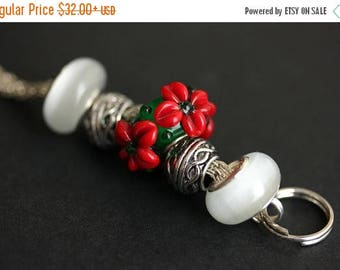 BACK to SCHOOL SALE Christmas Lanyard. Badge Lanyard. Christmas Poinsettia Badge Holder. Holiday Lanyard. Red and Green Lanyard. Id Lanyard.