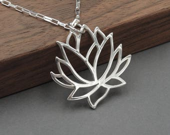 Lotus Necklace - Sterling Silver Lotus Flower Necklace, Lotus Jewelry, Yoga Jewelry, Lotus Pendant, Yoga Gifts
