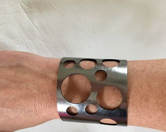 Gun metal metallic grey leather cuff with geometric accents leather cuff laser cut leather cuff wide metallic leather cuff