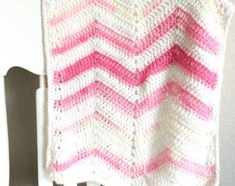 Baby Blanket - newborn size - pink and white stripe