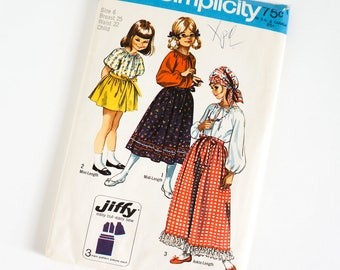 Vintage 1970s Girls Size 6 Gypsy Style Back Wrap Skirt in Three Lengths and Blouse Simplicity Sewing Pattern 9091 Complete / b25 w22