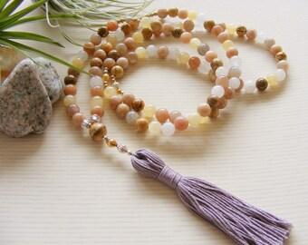 Sunstone Ambronite Yellow Peach Mala Prayer Beads - Yoga Necklace - Made in the UK