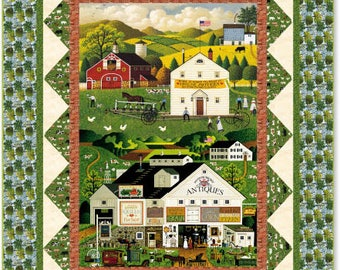 Quilt Kit Charles Wysocki Quilting Fabric Kit Fabrics Quilts Fall Autumn Horses Folk Art Country Sewing Farmhouse Town Country