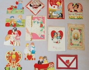 12 Antique Vintage Valentine's Day Cards . Scrap Lot . Repurpose Lot . Some German . Paper . Lot A