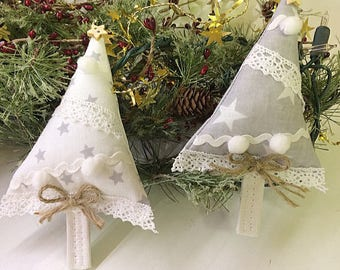 Fabric Christmas Tree Decoration, White Stars or Grey Stars