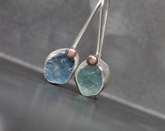 Raw Aquamarine Earrings Mismatched Color Dangles Fresh Summer Accessory Silver 14k Rose Gold Blue Green Rough Gemstones Gift - Water and Ice