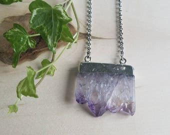 Chunky Amethyst Sone Necklace / Electroformed / Stainless Steel