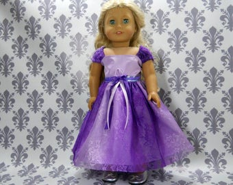 18 inch doll clothes made to fit dolls such as American Girl, Purple Lavender Lace Party Fancy Gown Dress, 6-2134