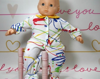 15 inch doll clothes made to fit dolls such as Bitty Baby, White with Squiggles Sleeper, 08-2248