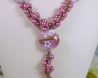 Woven Lampwork Necklace and Earrings Set Rose Pink Pearl and Antiqued Bronze