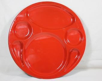Vintage Mid Century Modern Vibrant Cherry Red Enameled Metal John's Service Plate Platter